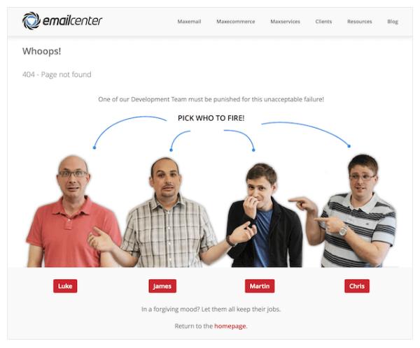 英国电子邮件中心–交互式404页面示例