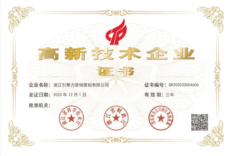 热烈祝贺浙江引擎力营销策划有限公司通过国家高新技术企业认定
